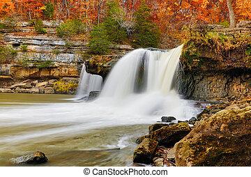 hermoso, otoño, cascada
