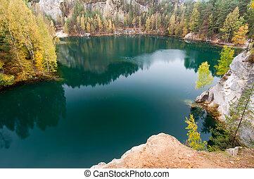 hermoso, otoño, lago