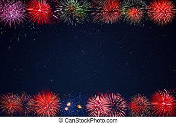 hermoso, púrpura, marco, fuegos artificiales, brillante, rojo verde, dorado, celebración