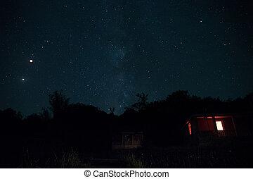 hermoso, paisaje., cielo, forest., encima, manera, azerbaiyán, lechoso, noche