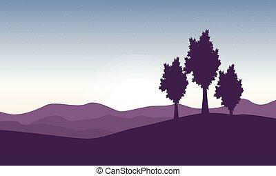 hermoso, paisaje, con, árbol, en, colina