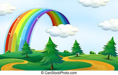 hermoso, paisaje, con, arco irirs