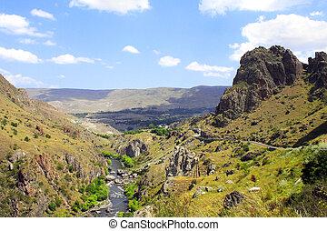 hermoso, paisaje, con, un, corriente montaña, georgia
