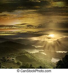 hermoso, paisaje de montaña, ocaso
