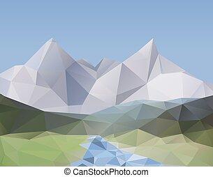 hermoso, paisaje de montaña, polígono, -, plano de fondo