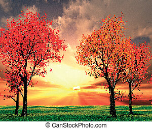 hermoso, paisaje de otoño, ilustración