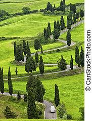 hermoso, paisaje, de, toscana, con, el, torcer, camino, y,...