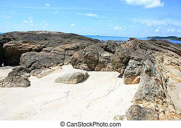 hermoso, paisaje., koh, isla, samet, mar, tailandia
