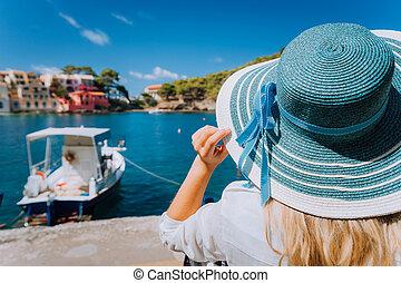 hermoso, paja, grecia, mar mediterráneo, aldea, barco,...