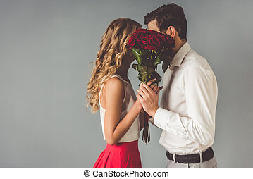 hermoso, par romántico