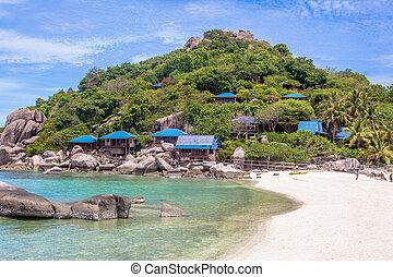 hermoso, paraíso, isla tropical