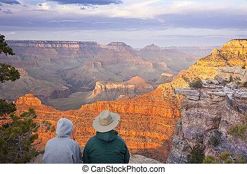hermoso, pareja, cañón, magnífico, el gozar, paisaje