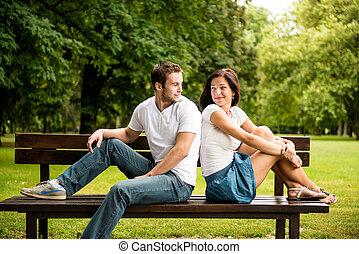 hermoso, pareja, fechando, joven