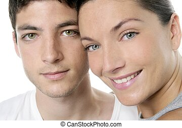 hermoso, pareja joven, primer plano, retrato, encima, blanco