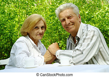 hermoso, pareja, viejo, feliz