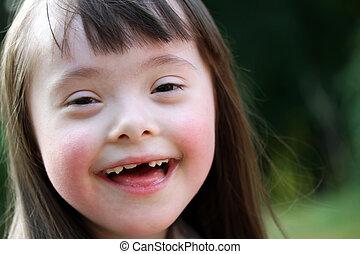 hermoso, parque, joven, retrato, muchacha que sonríe