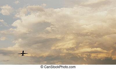 hermoso, pasajero, de, muy, toma, contra, nubes, ocaso, Plano de fondo, avión