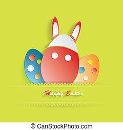 hermoso, pascua, plano de fondo, con, colorido, huevos, y, orejas de conejo