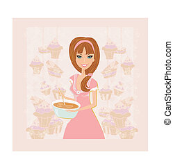 hermoso, pastel, cocina, dama