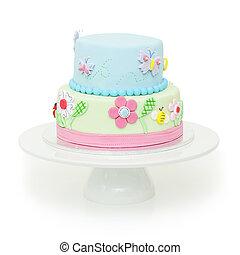 hermoso, pastel, cumpleaños, jardín,  themed