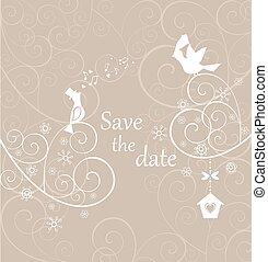 hermoso, pastel, tarjeta, boda