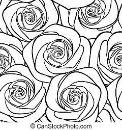 hermoso, patrón, seamless, contours., rosas, negro, blanco