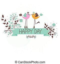 hermoso, patrón, tarjeta, con, aves
