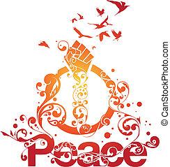 hermoso, paz, vector
