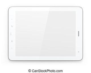 hermoso, pc, fondo blanco, tableta