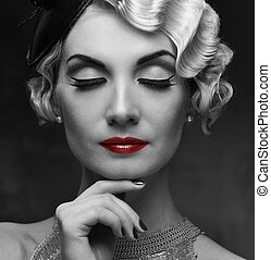 hermoso, peinado, mujer, lápiz labial, elegante, retro,...