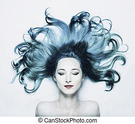 hermoso, pelo azul, mujer