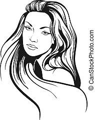 hermoso, pelo, bosquejo, mujer, largo