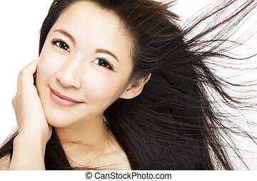hermoso, pelo, cara mujer, movimiento, plano de fondo,...