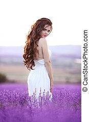 hermoso, pelo, estilo, mujer, rizado, vida, largo, joven,...