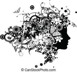 hermoso, pelo, flores, mujer, hecho
