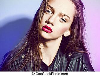 hermoso, pelo, labios, estudio, mojado, rojo, mujeres