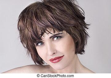 hermoso, pelo, mujer, cortocircuito