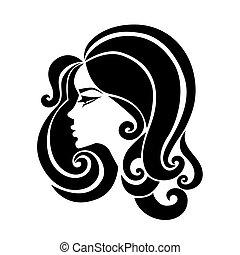 hermoso, pelo, mujer