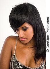 hermoso, pelo, mujer, indio, largo