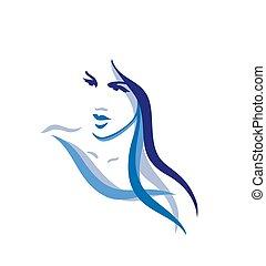 hermoso, pelo, mujer, largo