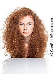 hermoso, pelo, mujer, rojo
