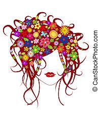 hermoso, pelo, niña, flores