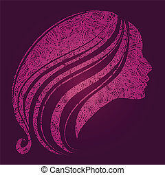 hermoso, pelo, niña