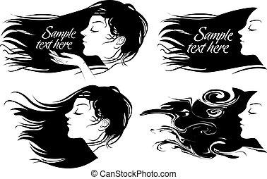 hermoso, pelo, niña, largo