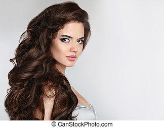 hermoso, pelo, niña, ondulado, brillante