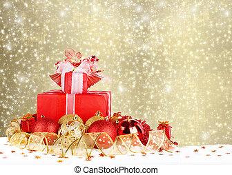 hermoso, pelotas, oro, regalos de navidad, abstra, cinta