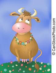 hermoso, pensativo, vaca