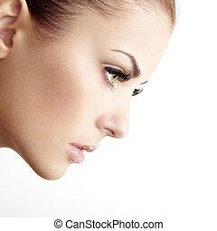 hermoso, perfecto, face., mujer, maquillaje