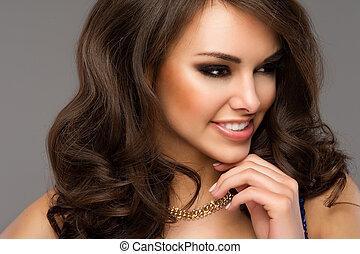 hermoso, perfecto, mujer, dentudo, cara, joven, Arriba, retrato, cierre, niña, sonrisa, caucásico