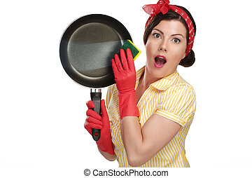 hermoso, perfecto, mujer, platos, actuación, lavado, joven, ama de casa